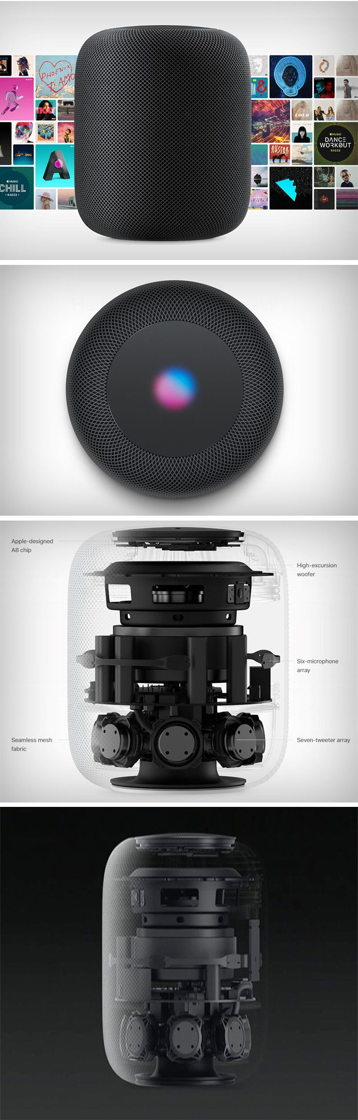 The Homepod is Apple's Siri powered speaker, aimed at rivaling Amazon's Echo, Google's Home, and Harman Kardon's Cortana-powered Invoke speaker. It houses an A8 chip under it that gives it sheer computing power. Why would a speaker need sheer computing power? Because the Homepod is smart. Keep it anywhere in the room and it senses its location, matches it with the music its playing, and automatically equalizes it to make your music sound good no matter where you are.
