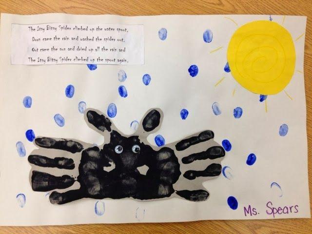 Itsy Bitsy Spider Handprint Poem art - PreK bugs theme