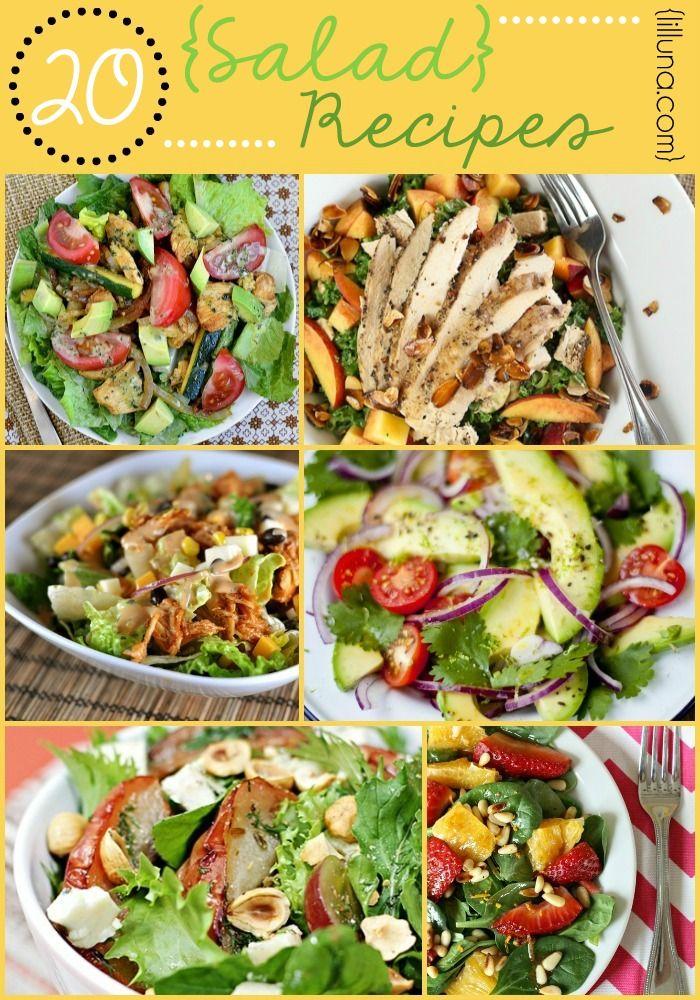 20 Salad Recipes - So many delcious (and HEALTHY) recipes!! { lilluna.com }