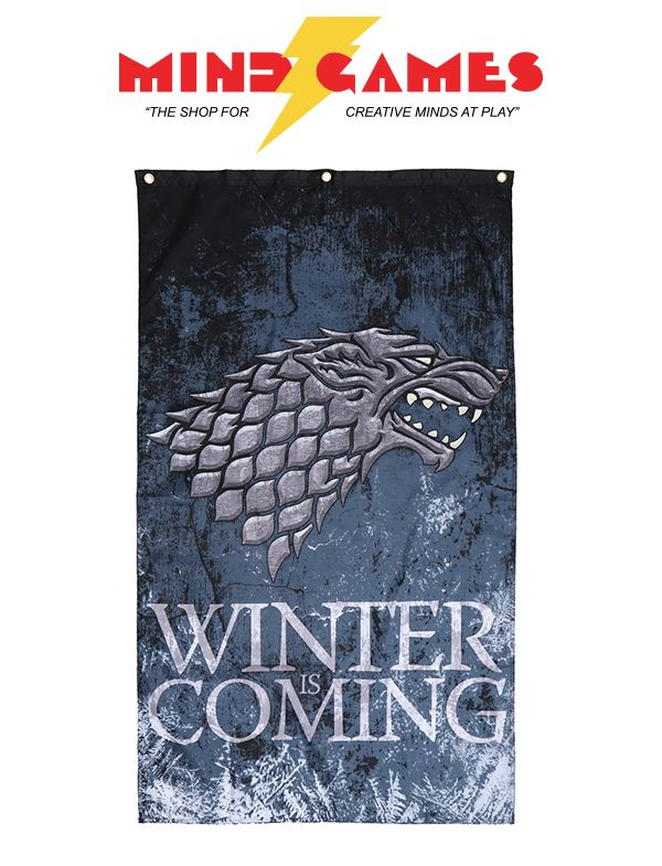 """You don't have to be in Westeros in order to wave your favourite tournament banner and show your loyalty! With the Game Of Thrones Stark Winter Is Coming Banner, proudly hoist it up just about anywhere and show your allegiance to the most powerful houses of the Seven Kingdoms!  An officially licensed Game Of Thrones banner, the Game Of Thrones Stark Winter Is Coming Banner is 100% polyester and measures 30"""" x 50"""". It also features the house words of Stark """"Winter Is Coming"""" written on the…"""