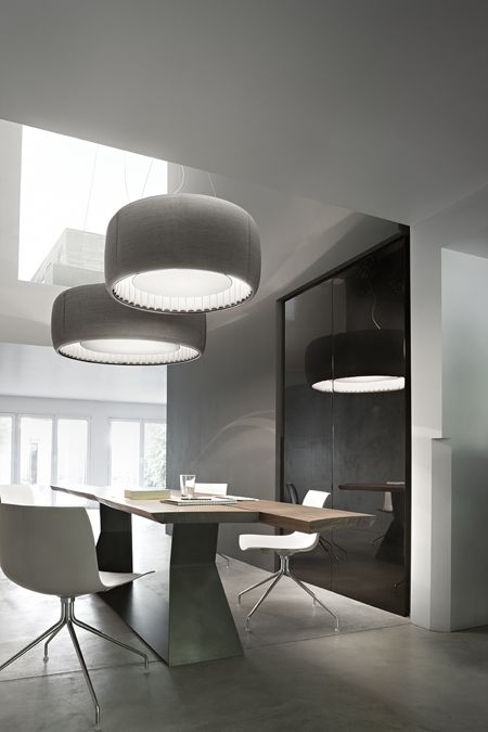Modern Living Spaces // Modern lighting by Luceplan - ceiling light fixture is the Silenzio, in a beautiful rich Kvadrat grey textile.