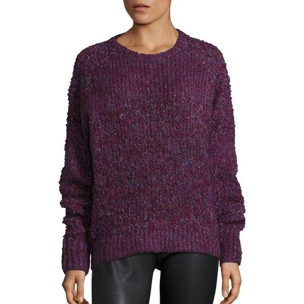 IRO Jelan Boucle Rib-Knit Sweater ($460) ❤ liked on Polyvore featuring tops, sweaters, apparel & accessories, purple top, purple long sleeve top, slouchy pullover, pullover sweaters and slouchy tops