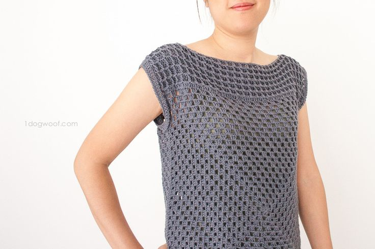 Granny Squared Crochet Top - One Dog Woof :: Make yourself a simple, modern granny squared crochet top by adding a rich waffle texture block to a basic granny square motif.