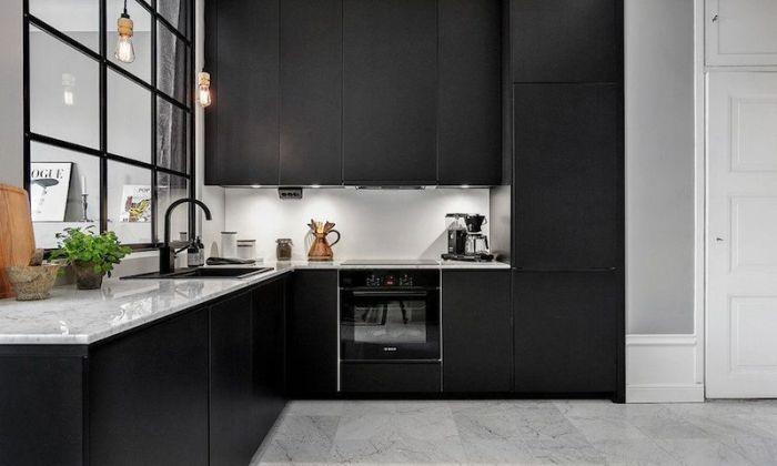 Cuisine Noir Mat Et Marbre Cuisine Noire Armoires De Cuisine Noirs Murs De Cuisine Gris