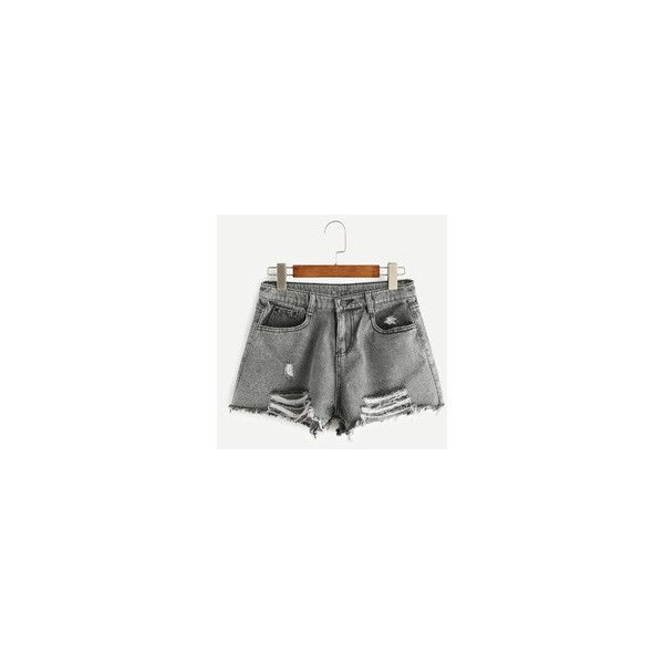 Women's Shorts - White, Leather, Red & Knee Length Shorts | Romwe.com ❤ liked on Polyvore featuring shorts, long denim shorts, white jean shorts, red short shorts, denim shorts and long jean shorts