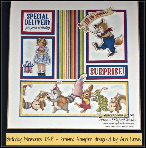 Framed Stamped Sampler| Sneak Peek Birthday Memories DSP|2017-18 Stampin' Up! Catalogue | Ann's PaperWorks| Ann Lewis| Stampin' Up! (Aus) online store 24/7