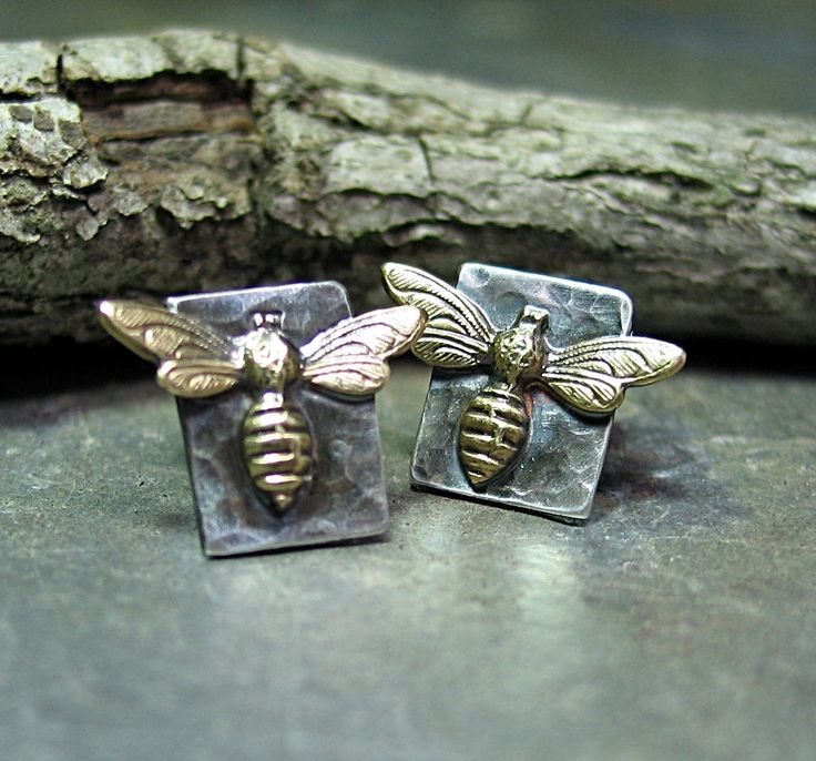 Sterling Silver and Brass Bee Studs from the Bee My Honey collection     ....from Lavender Cottage on Etsy: Silver Studs, Stud Earrings, Sterling Silver, Studs Earrings, Bees Studs, Bees Knee, Bees Earrings, Honey Bees, Brass Bees