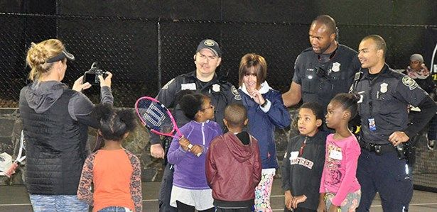 It's Friday night and, for nearly 100 youth and a handful of Atlanta police officers, the place to be is Washington Park. During a six-week session in the spring and an 11-week session in the fall of 2016, the Atlanta Police Department teamed up with the Chattahoochee Foundation and Atlanta Youth Tennis and Education Foundation (AYTEF) to present the Volley Against Violence (VAV) Community Outreach Program for nights full of food, fun, games and tennis.