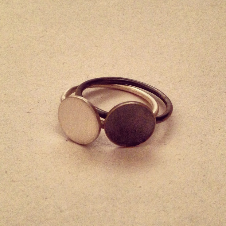 New Moon & Full Moon solid sterling silver stacking rings by The Bleachers.