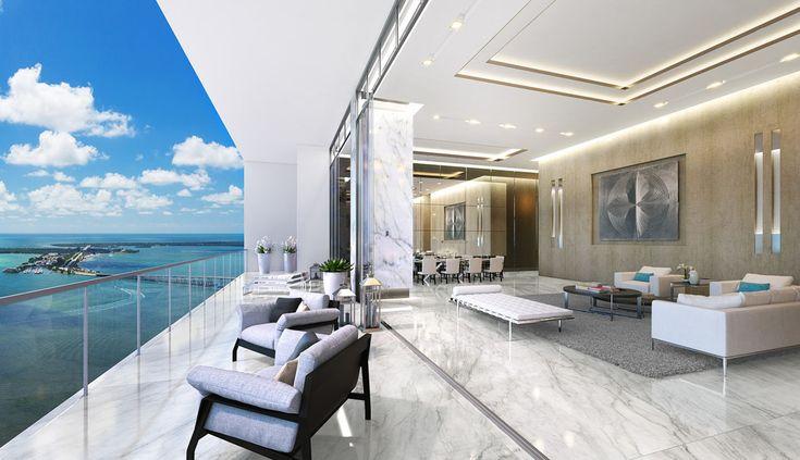 Un autre de ces penthouses propose un séjour ouvert ne faisant qu'un avec le balcon à la belle vue
