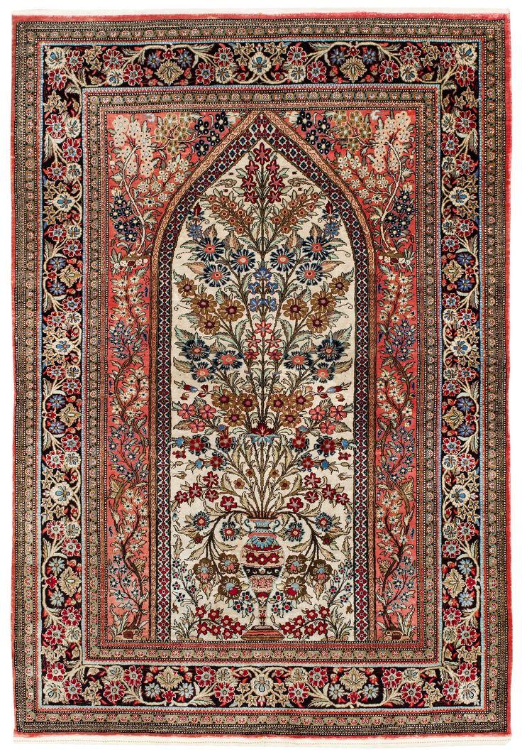 Persian Qum silk rug--Tree of LIfe design
