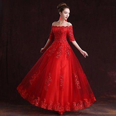 Formal Evening Dress A-line Off-the-shoulder Floor-length Satin Dress – USD $ 79.99