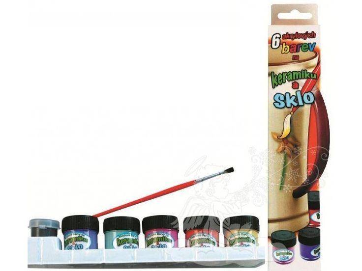 Barvy na keramiku a sklo v krabič. 5odst.x12ml +kontura5ml + štěteček. Barvy na keramiku a sklo v krabič. 5odst.x12ml +kontura5ml + štěteček
