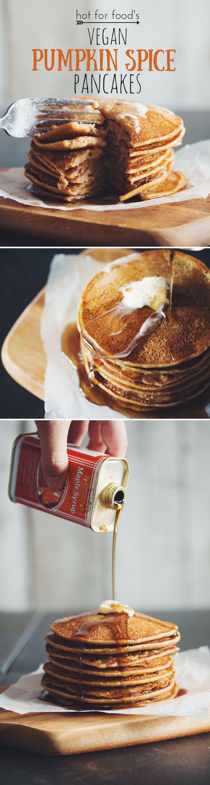 #vegan pumpkin spice pancakes   RECIPE on http://hotforfoodblog.com