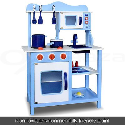 Kids Wooden Kitchen Pretend Play Set Toy Children Cooking Home Toddlers Cookware
