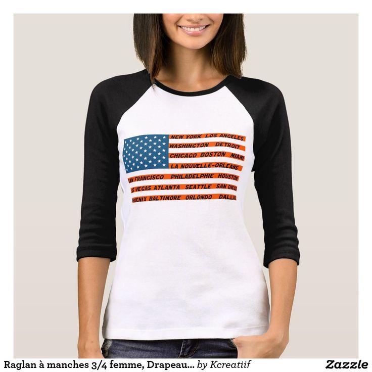 Raglan à manches 3/4 femme, Drapeau USA Orange