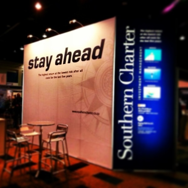 Southern Charter Stand at FPI. A massive 3.5m wall and 6m wide with two new light box features on each end.