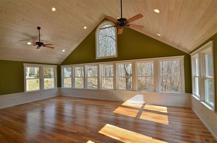 White Washed Wood Ceiling Wood Floor White Windows