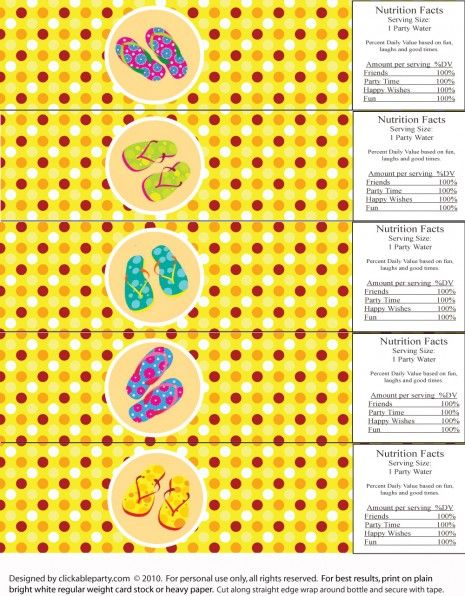 free printables: summer party water bottle labels