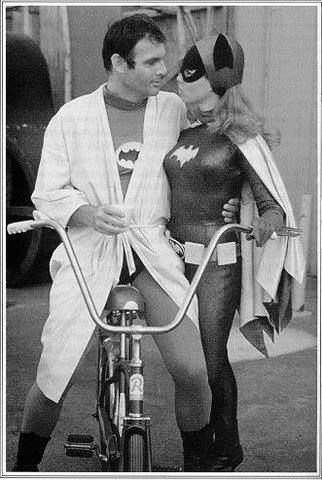 Adam West and Yvonne Craig behind the Bat Scenes.