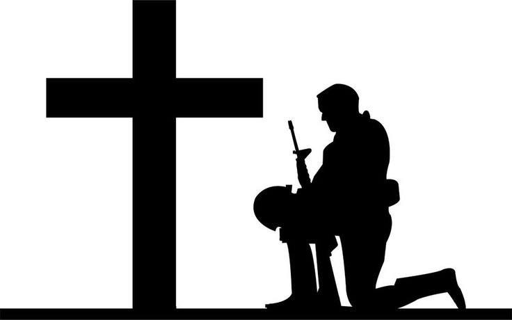 Soldier Kneeling At Cross Army Navy Marines Military Sticker Decal 4