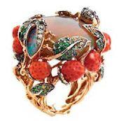 Кольцо от Diamond Tree, золото, бриллианты, сапфиры, гранаты, кораллы, опал.