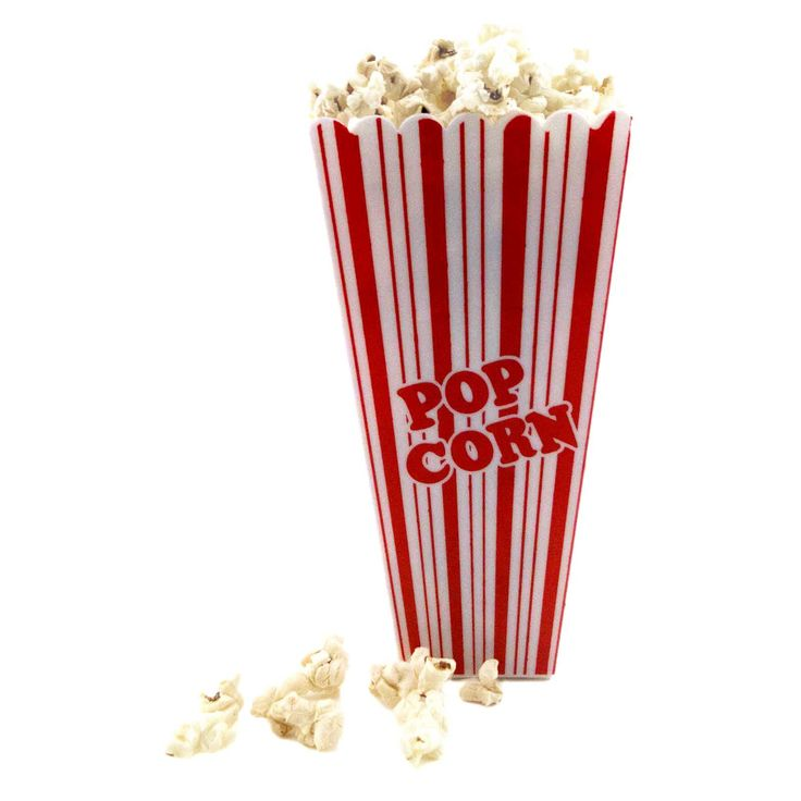 Red And White Plastic Rectangular Reusable Movie Theater Style Popcorn Container