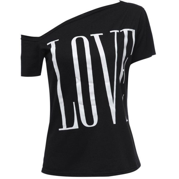 SALE! Asymmetric Off-Shoulder LOVE Graphic Print T-Shirt ($15) ❤ liked on Polyvore featuring tops, t-shirts, off the shoulder t shirt, off shoulder tee, graphic design t shirts, off shoulder t shirt and graphic design tees