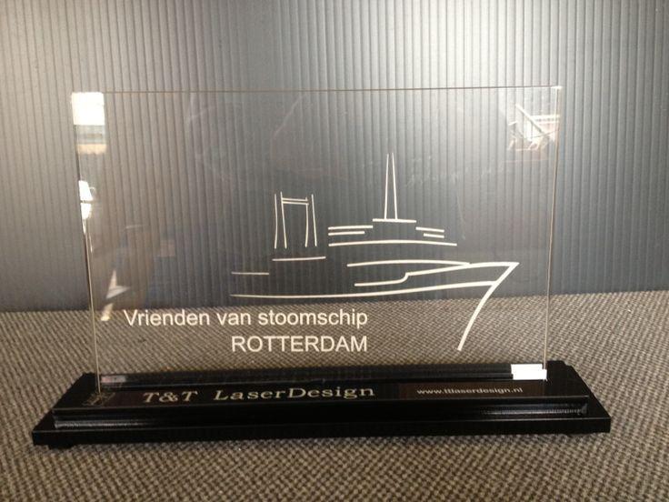 Logo SS Rotterdam, gegraveerd ten behoeve van een sponsor actie