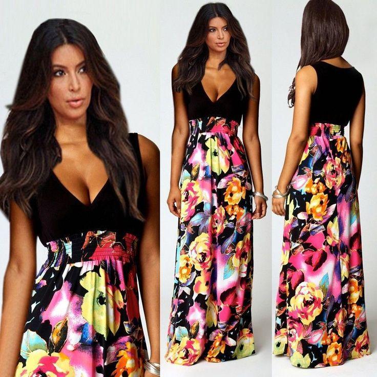 Plus Size chiffon maxi jurk voor vrouwen 2014 nieuwe collectie sexy diepe V-hals Mouwloos Lange gebloemde jurk Vrouw Boheemse Kleding