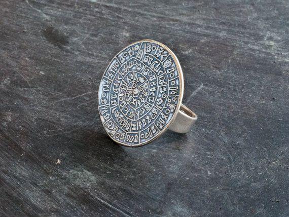 Greek Phaistos Disc Ring Sterling Silver Big Ring by GreekMythos