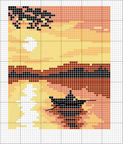 Boat on the water at sunset pattern / chart for cross stitch, crochet, knitting, knotting, beading, weaving, pixel art, and other crafting projects