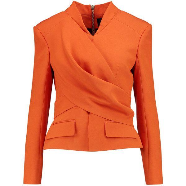 Balmain - Wrap-effect Crepe Jacket ($1,331) ❤ liked on Polyvore featuring outerwear, jackets, blazer, orange, tops, bright orange, blazer jacket, orange blazer, crepe jacket and balmain blazer