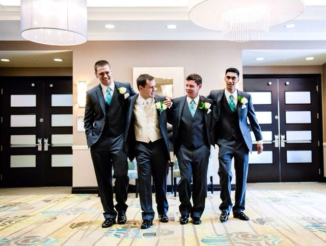 Tiffany blue ties with white shirts and black suits - wedding groomsmen