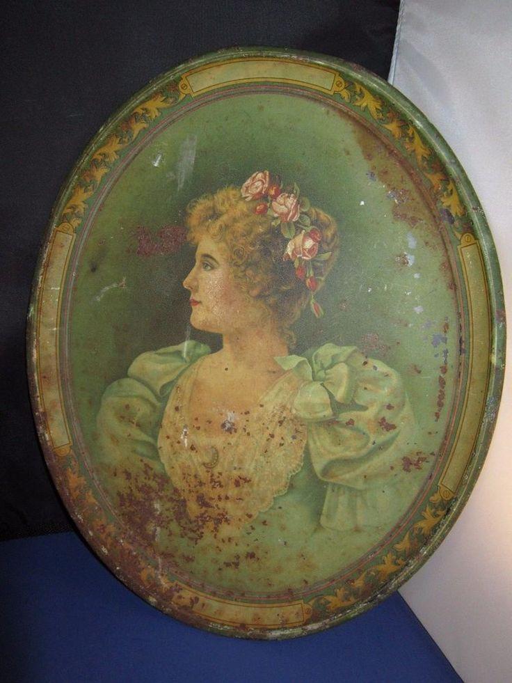 Vintage Antique Victorian Era metal serving tray Elegant Lady 16 in. old & rusty