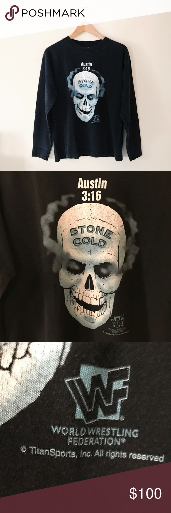 Rare WWF Stone Cold Long-sleeve Great vintage condition 90's WWF long sleeve! Size medium, it would fit small-medium. So sad to let this amazing rare shirt go but money for school is more important 😒 great shirt to even collect. As a wrestling fan it's really hard to come by long sleeve vintage wrestling shirts especially in this size and condition! WWE Tops Tees - Long Sleeve