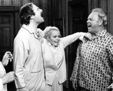 "Picture of Carroll O'Connor as Archie Bunker, Rob Reiner as Michael Stivic, Sally Struthers as Gloria Bunker-Stivic from ""All in the Family."""
