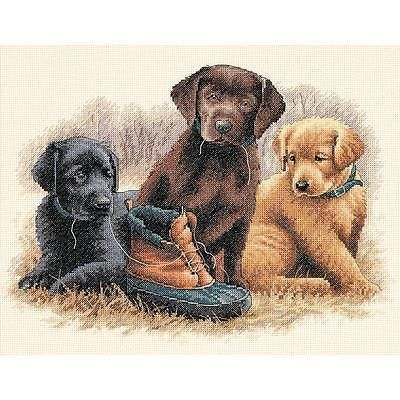 COUNTED CROSS STITCH Dimensions Kit Labrador PUPPY CHEW TOY Dog Pet