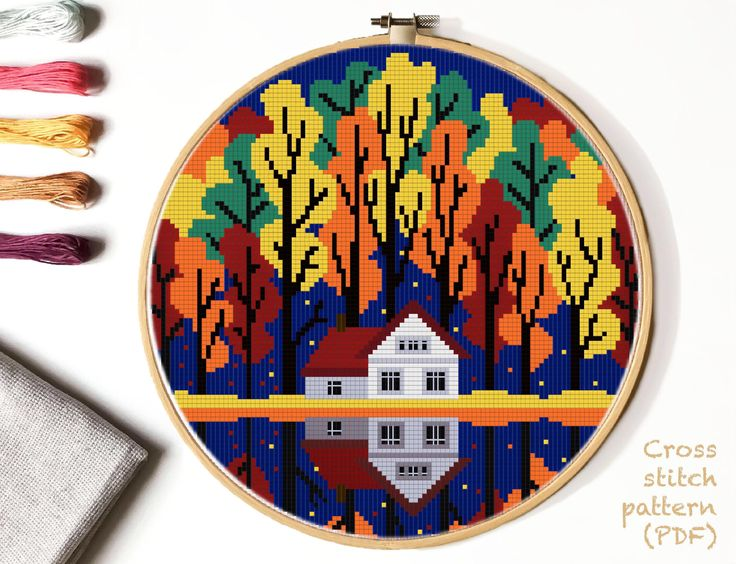 Autumn forest Modern Cross Stitch Pattern, landscape counted cross stitch chart, lake, house cross stitch, nature, hoop art, instant PDF