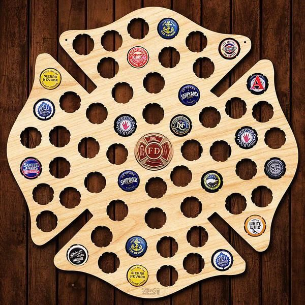 Our Firefighter Maltese Cross beer cap sign is the coolest gift for firefighters.  Our wooden bottle cap signs are hand made in the USA.