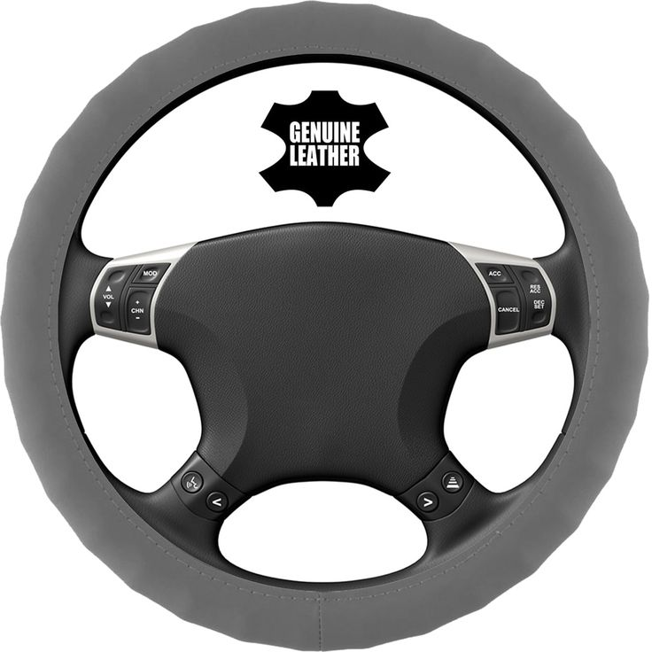 KM World Gray 14.5-15 Inch PU Leather Steering Wheel Cover With Finger Indentations, Fits Ford Fusion