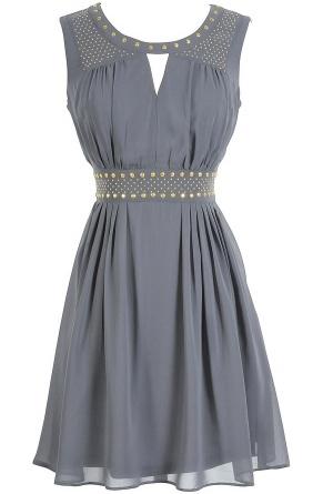 Gold Studded Chiffon Dress | Lily Boutique