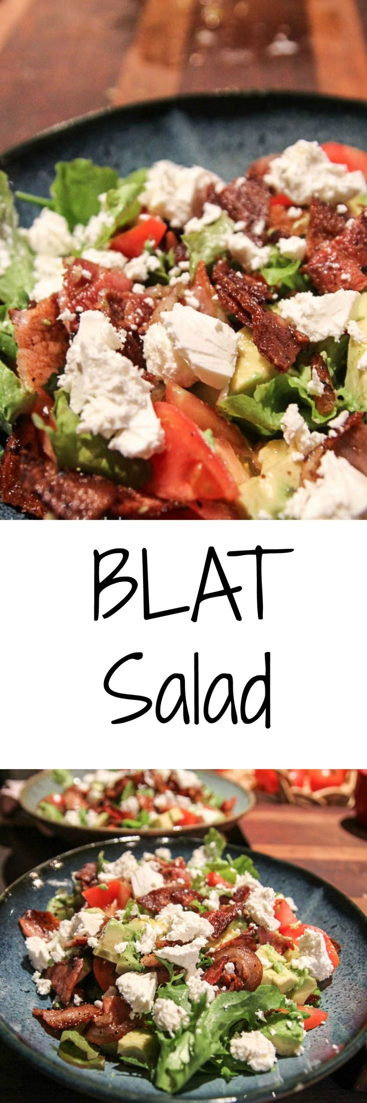Easy BLAT w Feta Salad Recipe. A deconstructed BLAT sandwich turned into a salad. Super fast dinner option which is very delicious and will make you want to go back for more. Get this easy recipe now.