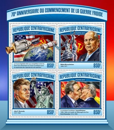 CA17104a 70th anniversary of Cold war (The Space Race was a competition between two Cold War rivals, the Soviet Union and the United States, for supremacy in spaceflight capability; Nikita Khrouchtchev (1894–1971); John F. Kennedy (1917–1963); Soviet President Leonid Brezhnev (1906-1982) and the leader of East Germany Erich Honecker (1912-1994))