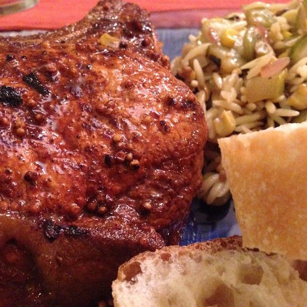MUSTARD CRUSTED PORKCHOP WITH ZUCCHINI & CORN ORZO #DINNER