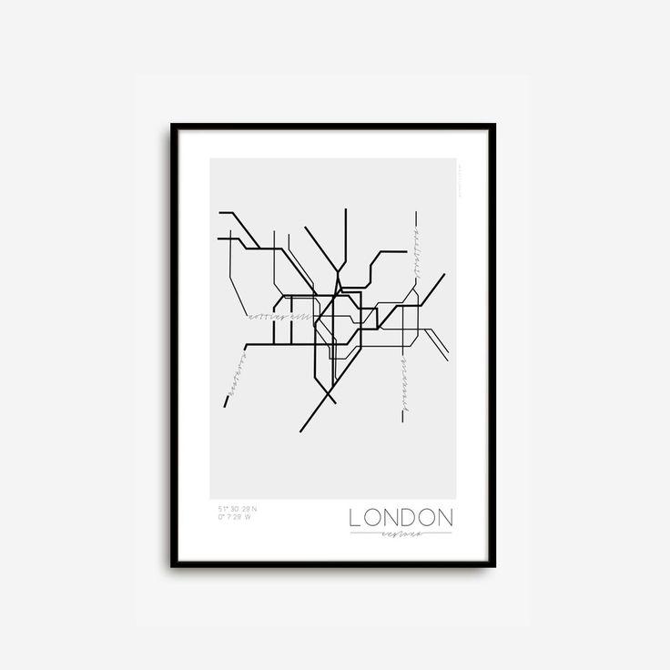 Köp London Underground online. Poster inspirerad av Londons tunnelbanesystem. Populära områden och stadens geografiska samordningen har märkts ut. Mått: 50x70