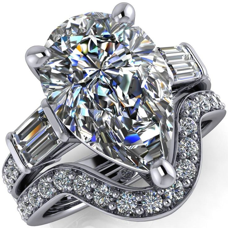 Paphos Pear Moissanite Diamond Baguette Side Channel Engagement Ring