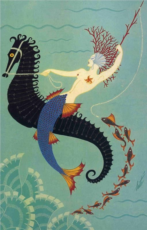 Water by Erté art painting illustration sea horse ocean life.