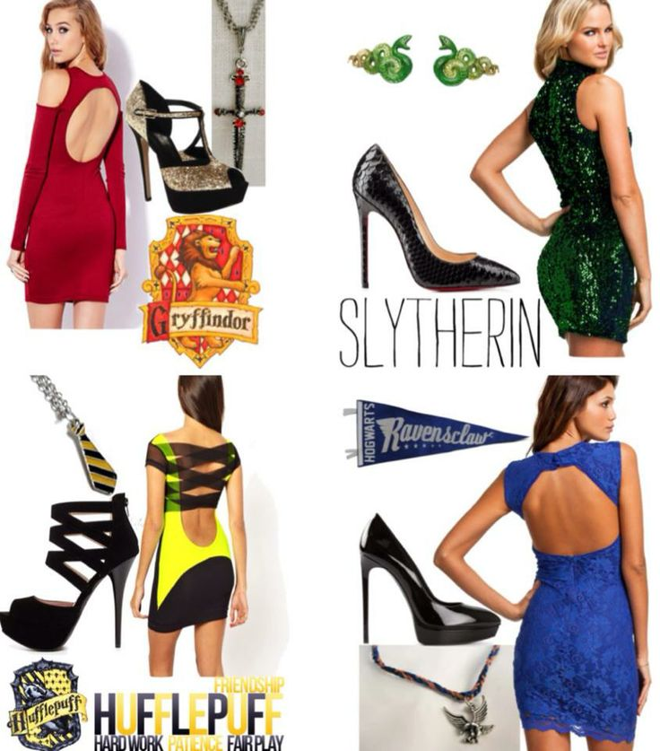 Sexy Harry Potter house outfits. Fashionable Gryffindor, Slytherin, Hufflepuff, and Ravenclaw clothing.