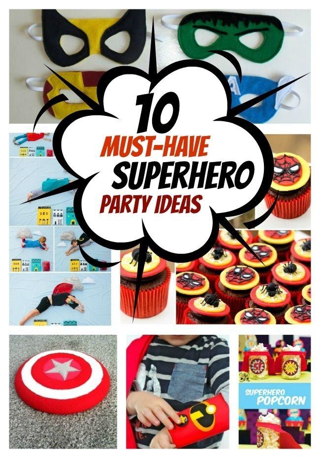 10 Superhero Party Must-Haves - 1. DIY Superhero Masks 2. Superhero Party Printables 3. No Sew Superhero Cape 4. DIY Superhero Shield 5. DIY Superhero Backdrop 6. DIY Toilet Paper Roll Superhero Cuffs 7. DIY Superhero Photo Booth 8. DIY Superhero Cork Coasters 9. Spiderman Cake and Cupcakes 10. DIY Superhero Popcorn Cups